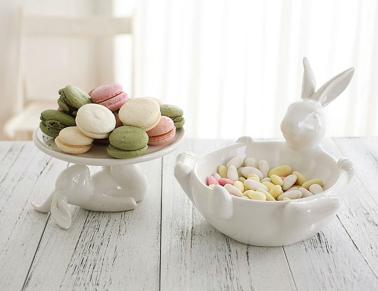 farmhouse decor easter bunny cake stand bowl