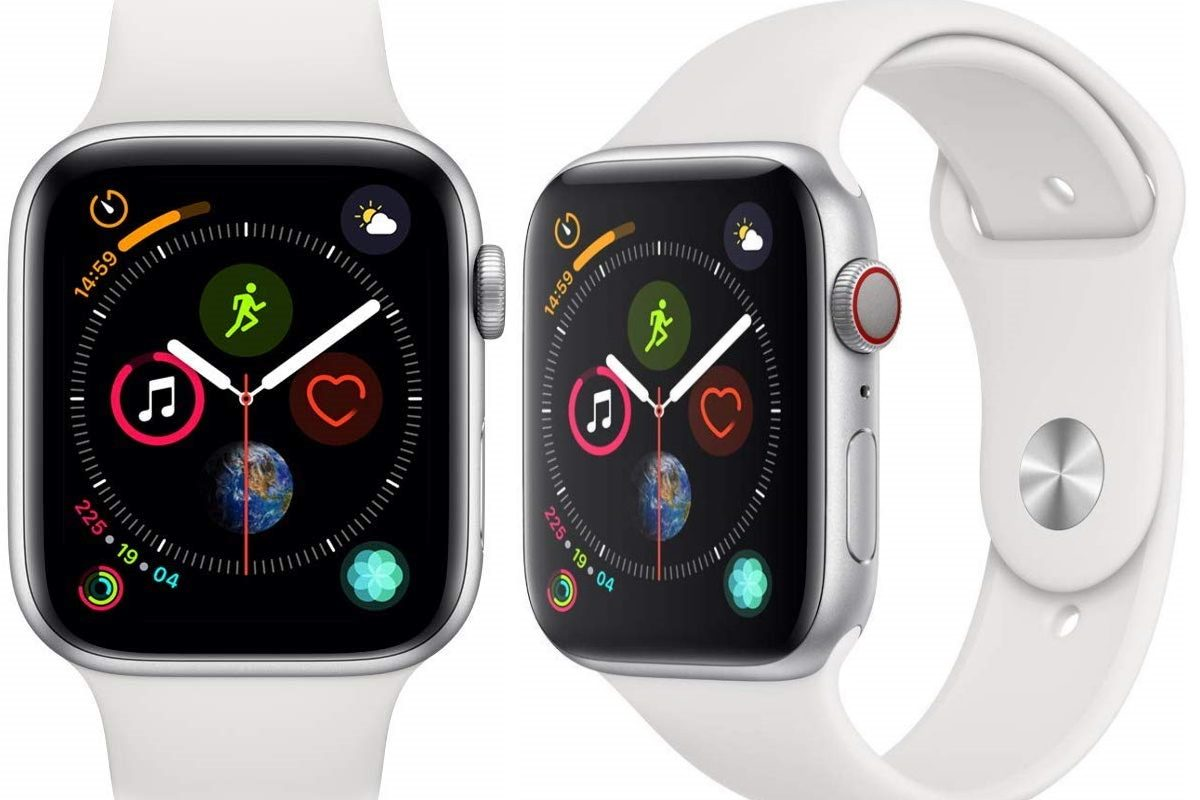 Apple Watch Series 4 (GPS + Cellular, 44mm) - Silver Aluminum Case with White Sport Band