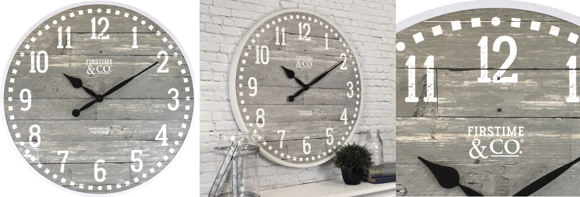 FirsTime Arlo Distressed Wall Clock Farmhouse Decor