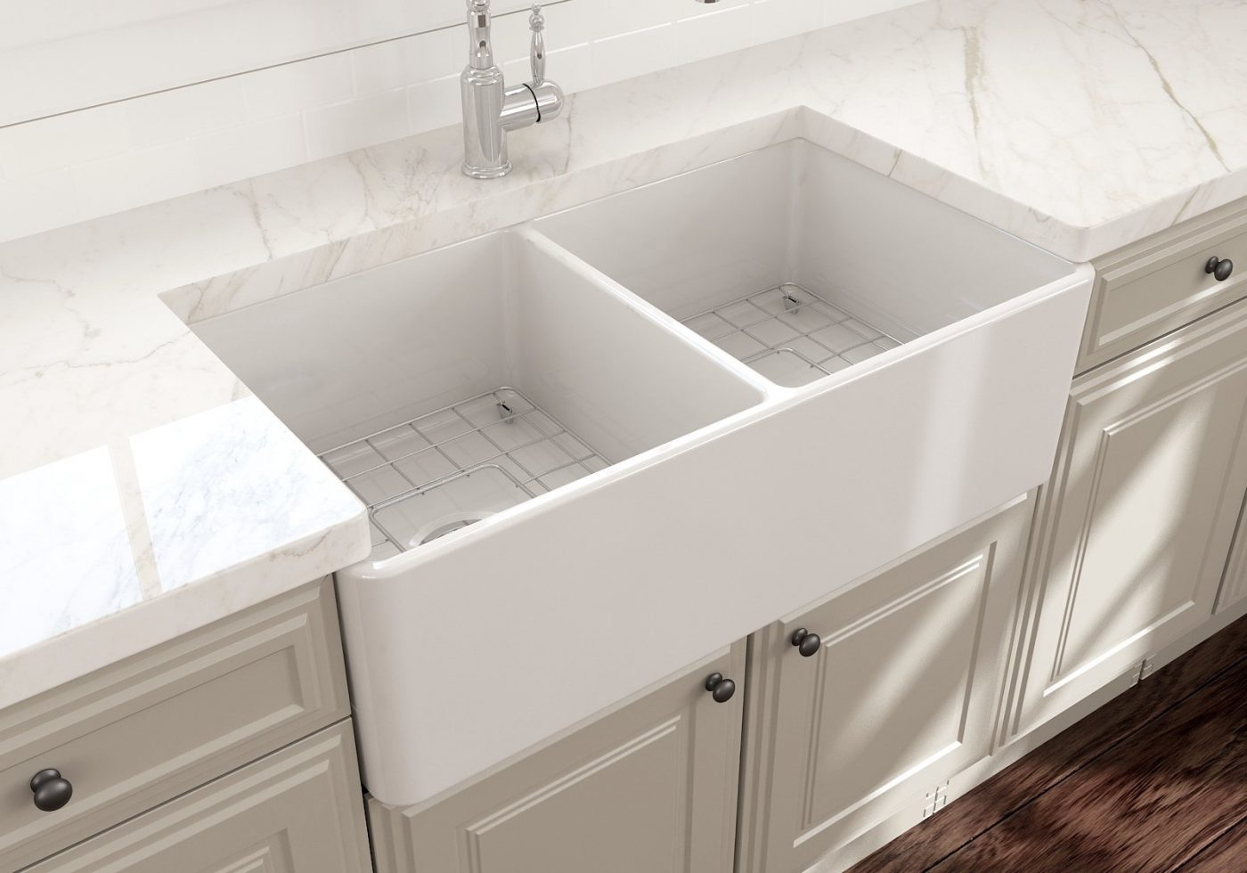 "CLASSICO 33D Farmhouse Apron Front Fireclay 33"" Double Bowl Kitchen Sink"