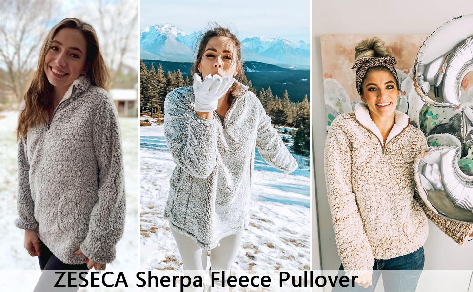 women's fleece sherpa pullover sale deal