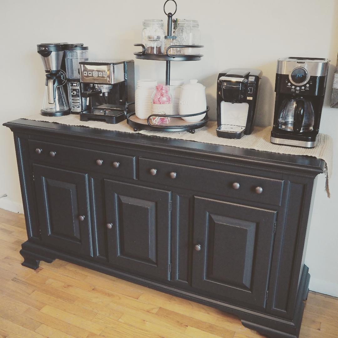 farmhouse hutch coffee bar redo diy